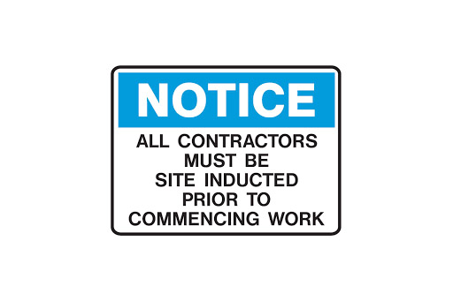 ALL PERSONS ON SITE MUST BE INDUCTED 1ST