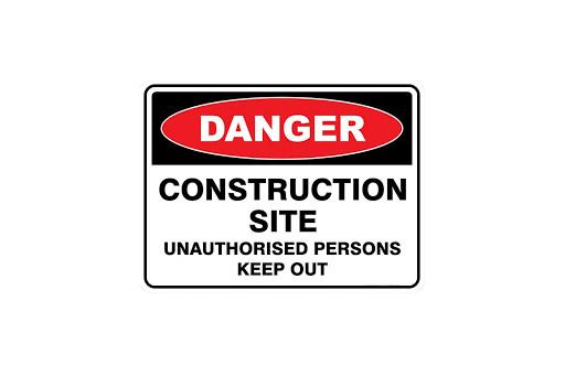 DANGER CONSTRUCTION SITE UNAUTHORISED PE