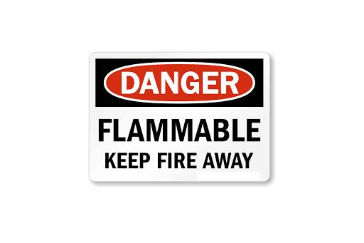 DANGER FLAMMABLE KEEP FIRE AWAY