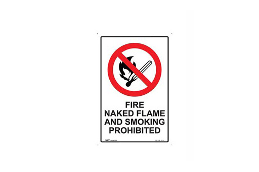 FIRE NAKED FLAME & SMOKING PROHIBITED
