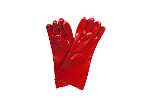 GLOVES PVC ELBOW LENGTH RED